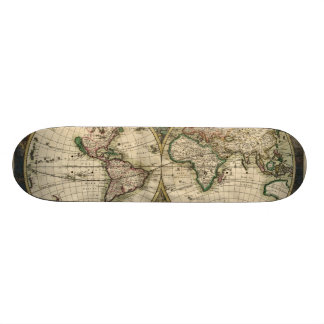 Vintage Map of The World (1689) Custom Skate Board