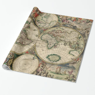 Vintage Map of The World (1689) Wrapping Paper