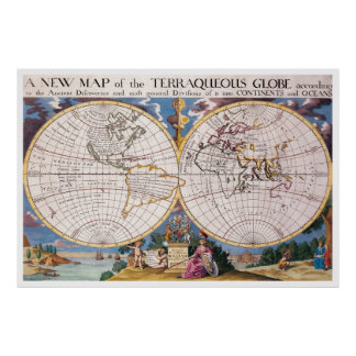 Vintage Map of The World (1700) Poster