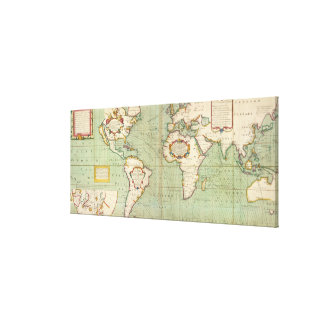 Vintage Map of The World (1702) Canvas Print