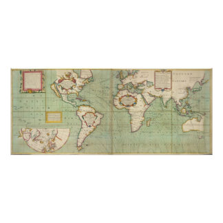 Vintage Map of The World (1702) Poster