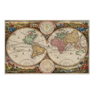 Vintage Map of The World (1730) Poster