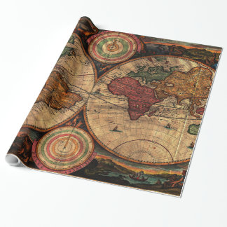 Vintage Map of The World (1730) - Stylized Wrapping Paper