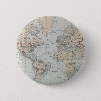 Vintage Map of The World (1875) 6 Cm Round Badge