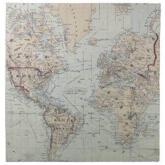 Vintage Map of The World (1875) Napkin