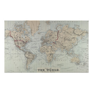 Vintage Map of The World (1875) Poster