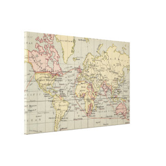 Vintage Map of The World (1914) Canvas Print