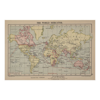 Vintage Map of The World (1914) Poster