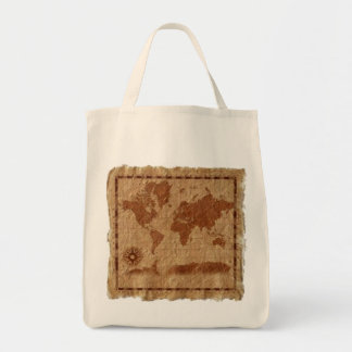 Vintage Map of the World Canvas Bags