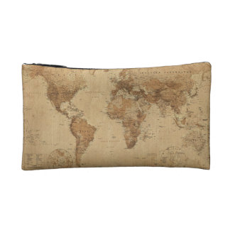 Vintage Map of the World Cosmetic Bag