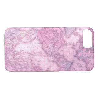 Vintage map of the world in pink iphone 7 case