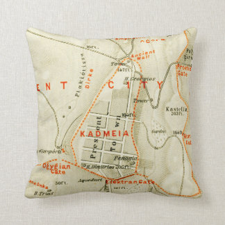 Vintage Map of Thebes Egypt (1894) Cushion