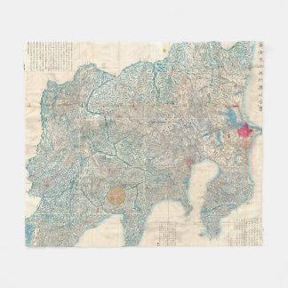 Vintage Map of Tokyo and Mt. Fuji Japan (1843) Fleece Blanket