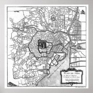 Vintage Map of Tokyo Japan (1752) BW Poster