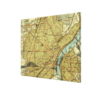 Vintage Map of Toledo Ohio (1938) Canvas Print