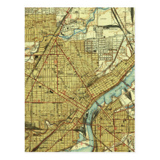 Vintage Map of Toledo Ohio (1938) Postcard