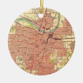 Vintage Map of Topeka Kansas (1951) Ceramic Ornament