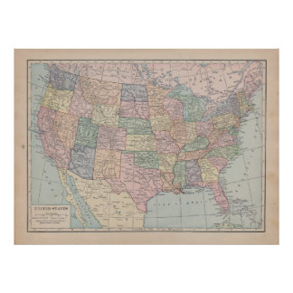 Vintage Map of  United States Poster