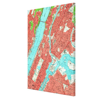 Vintage Map of Uptown Manhattan & The Bronx (1956) Canvas Print