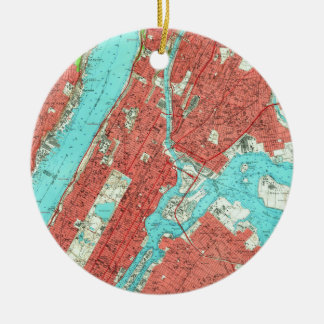 Vintage Map of Uptown Manhattan & The Bronx (1956) Ceramic Ornament