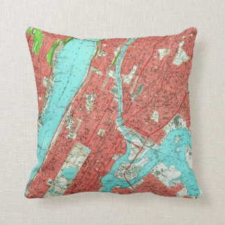 Vintage Map of Uptown Manhattan & The Bronx (1956) Cushion