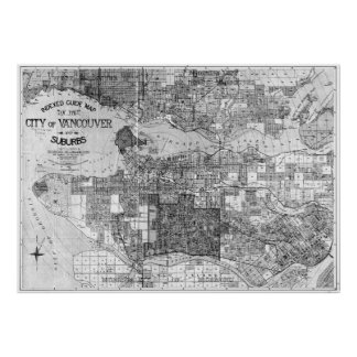 Vintage Map of Vancouver Canada (1920) BW Poster