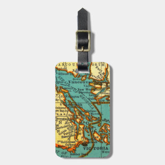 Vintage Map of VANCOUVER CANADA  Luggage Tag