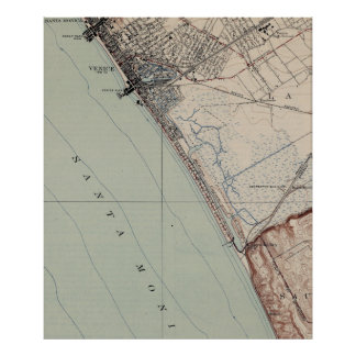 Vintage Map of Venice Beach California (1923) Poster