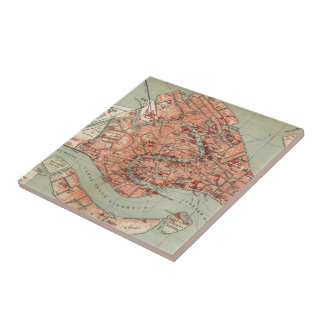 Vintage Map of Venice Italy (1920) Small Square Tile