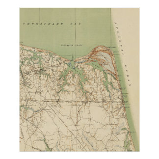 Vintage Map of Virginia Beach & Cape Henry (1918) Poster