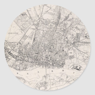 Vintage Map of Warsaw Poland (1836) Classic Round Sticker