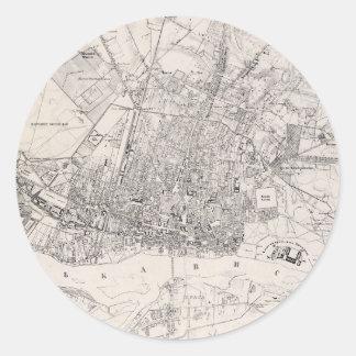 Vintage Map of Warsaw Poland (1836) Round Sticker