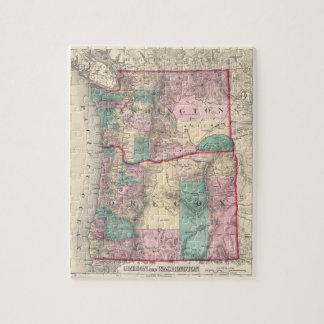 Vintage Map of Washington and Oregon (1875) Jigsaw Puzzle