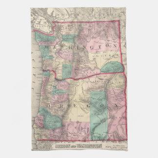 Vintage Map of Washington and Oregon (1875) Tea Towel