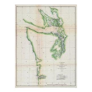 Vintage Map of Washington and Oregon Coast (1857) Poster