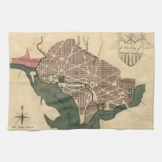Vintage Map of Washington D.C. (1793) Tea Towel