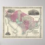 Vintage Map of Washington D.C. (1866) Poster