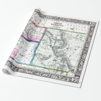 Vintage Map of Washington, Oregon and Idaho (1864) Wrapping Paper
