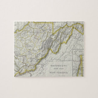 Vintage Map of West Virginia (1889) Jigsaw Puzzle