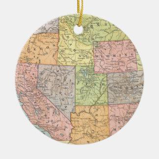 Vintage map of Western United States Round Ceramic Decoration