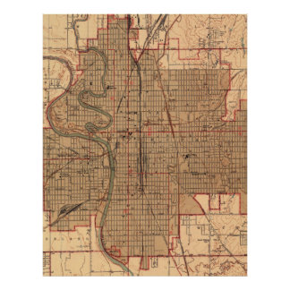 Vintage Map of Wichita Kansas (1943) Poster