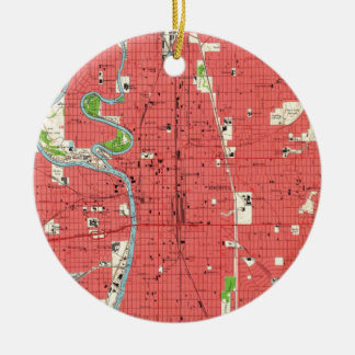 Vintage Map of Wichita Kansas (1961) Ceramic Ornament