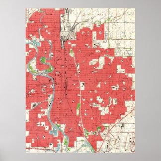 Vintage Map of Wichita Kansas (1961) Poster