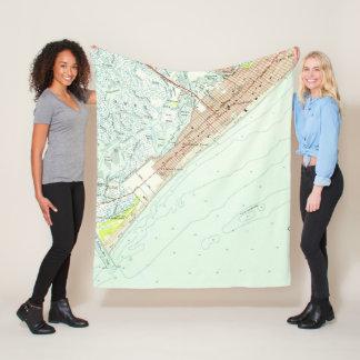 Vintage Map of Wildwood NJ (1955) Fleece Blanket