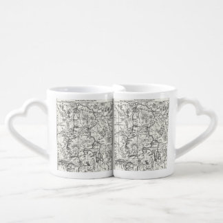 Vintage Map of Yellowstone National Park Coffee Mug Set