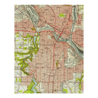 Vintage Map of Youngstown Ohio (1951) Poster