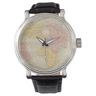 Vintage map old world antique globe hipster wristwatch