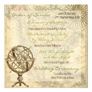 Vintage Map Order of Service 13 Cm X 13 Cm Square Invitation Card