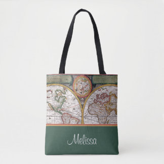 Vintage Map | Personalized | Green Tote Bag