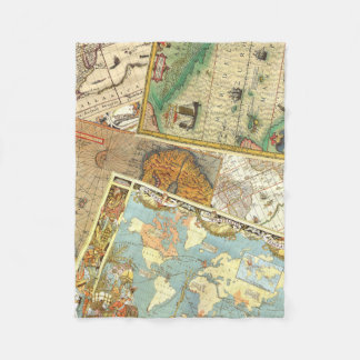 Vintage Map Print Fleece Blanket